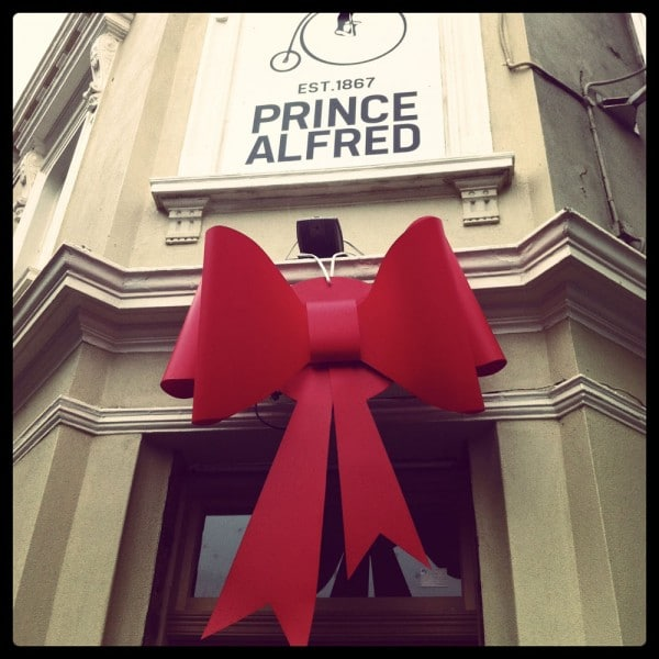 Red Custom Bow for Pub Relaunch | Double Tiffany Bow |