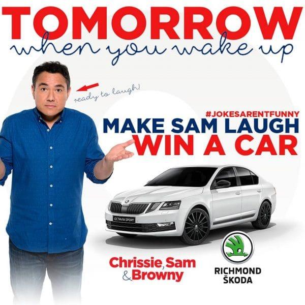 Big Red Bow Car Giveaway | Nova 100 | Big Red Bow | Car Giveaway | Nova 100 | Chrissie, Sam and Brownie | Richmond Skoda