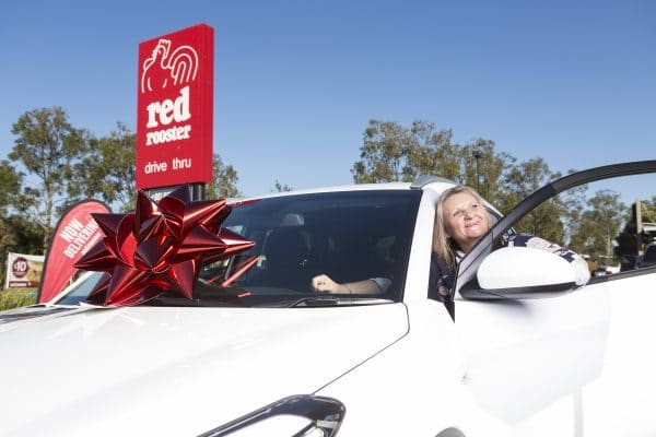 Promotional Bow | Big Red Bow | Car Giveaway | Red Rooster